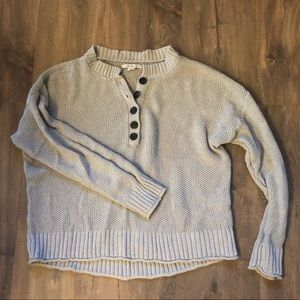 American Eagle cropped Henley sweater